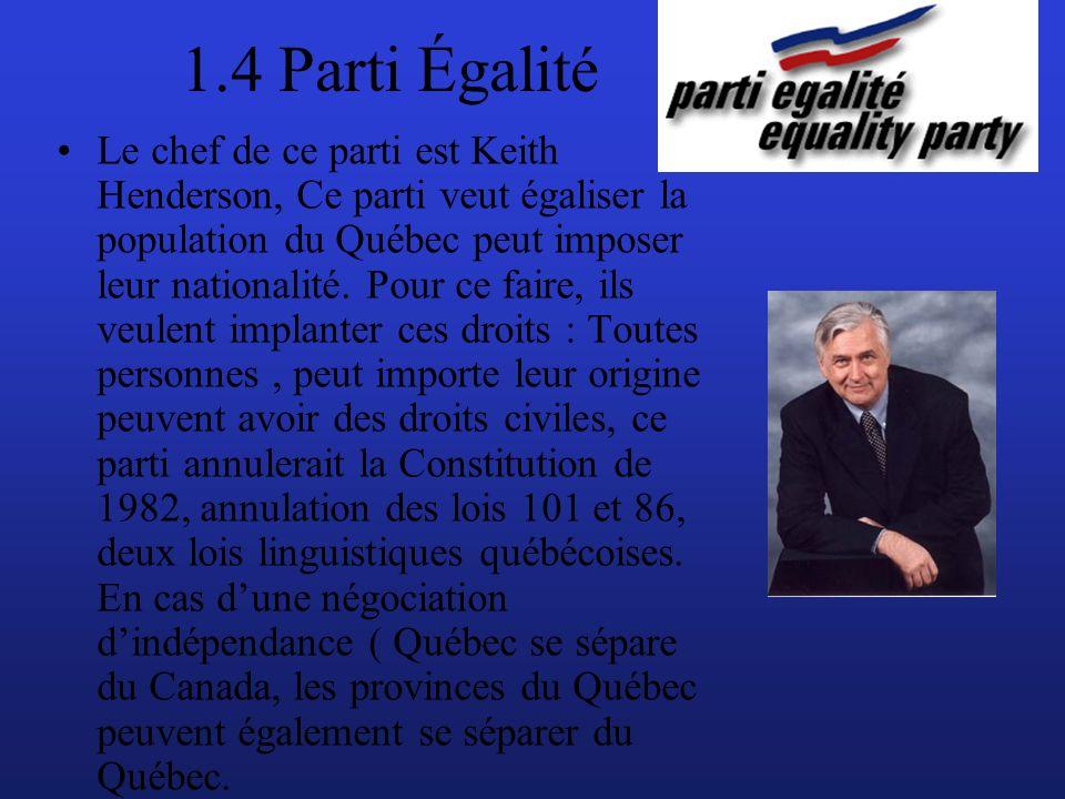 1.4 Parti Égalité Le chef de ce parti est Keith Henderson, Ce parti veut égaliser la population du Québec peut imposer leur nationalité.