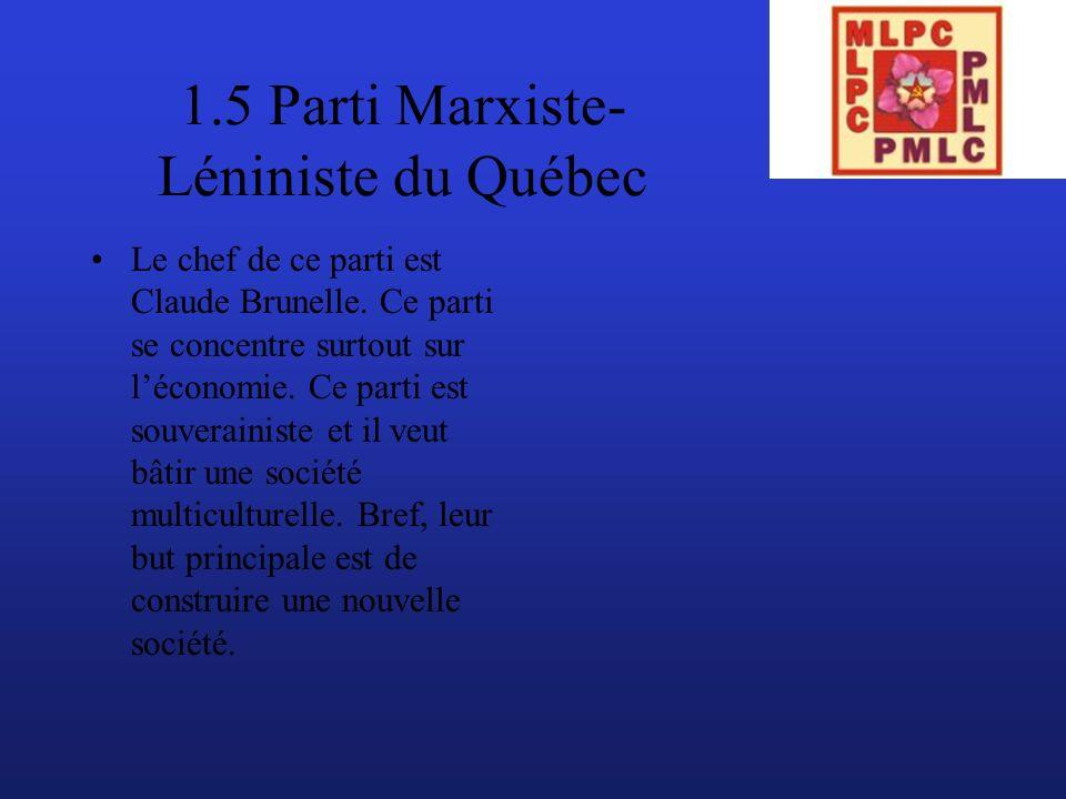 1.5 Parti Marxiste- Léniniste du Québec Le chef de ce parti est Claude Brunelle.