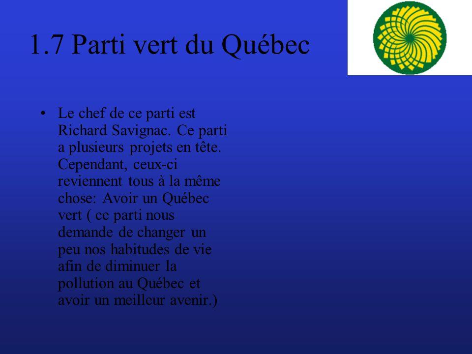1.7 Parti vert du Québec Le chef de ce parti est Richard Savignac.