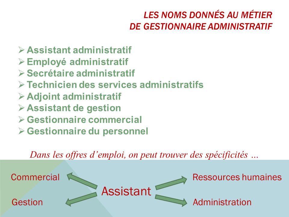 Assistant administratif Employé administratif Secrétaire administratif Technicien des services administratifs Adjoint administratif Assistant de gesti