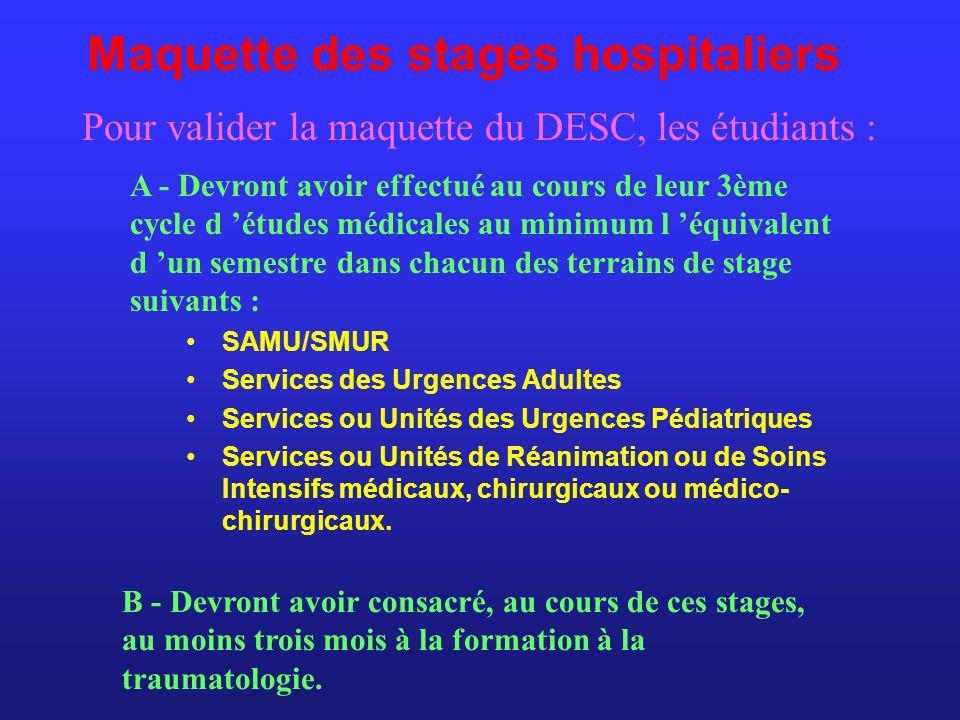 Maquette des stages hospitaliers SAMU/SMUR Services des Urgences Adultes Services ou Unités des Urgences Pédiatriques Services ou Unités de Réanimatio