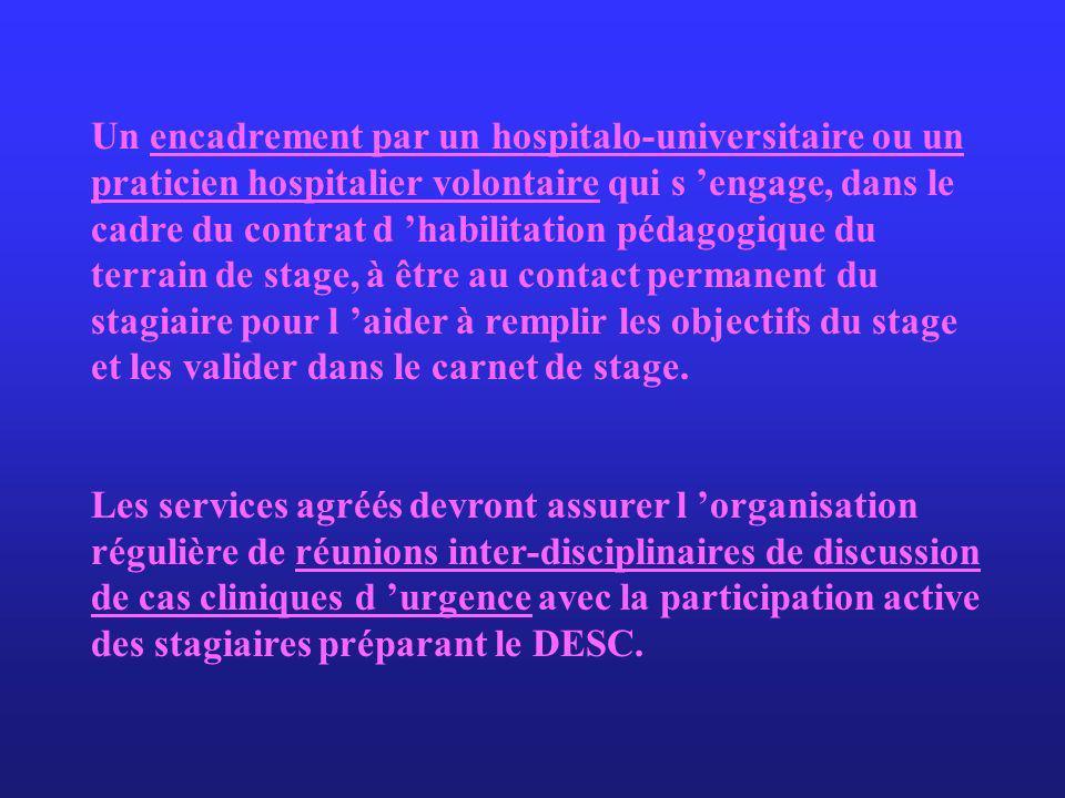 Un encadrement par un hospitalo-universitaire ou un praticien hospitalier volontaire qui s engage, dans le cadre du contrat d habilitation pédagogique