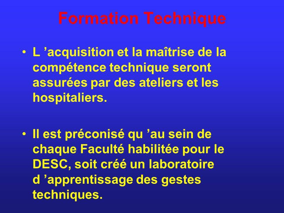 Formation Technique L acquisition et la maîtrise de la compétence technique seront assurées par des ateliers et les hospitaliers. Il est préconisé qu