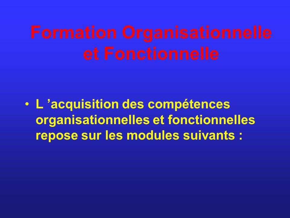 Formation Organisationnelle et Fonctionnelle L acquisition des compétences organisationnelles et fonctionnelles repose sur les modules suivants :