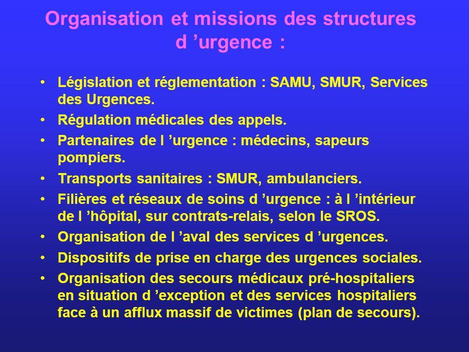 Organisation et missions des structures d urgence : Législation et réglementation : SAMU, SMUR, Services des Urgences. Régulation médicales des appels