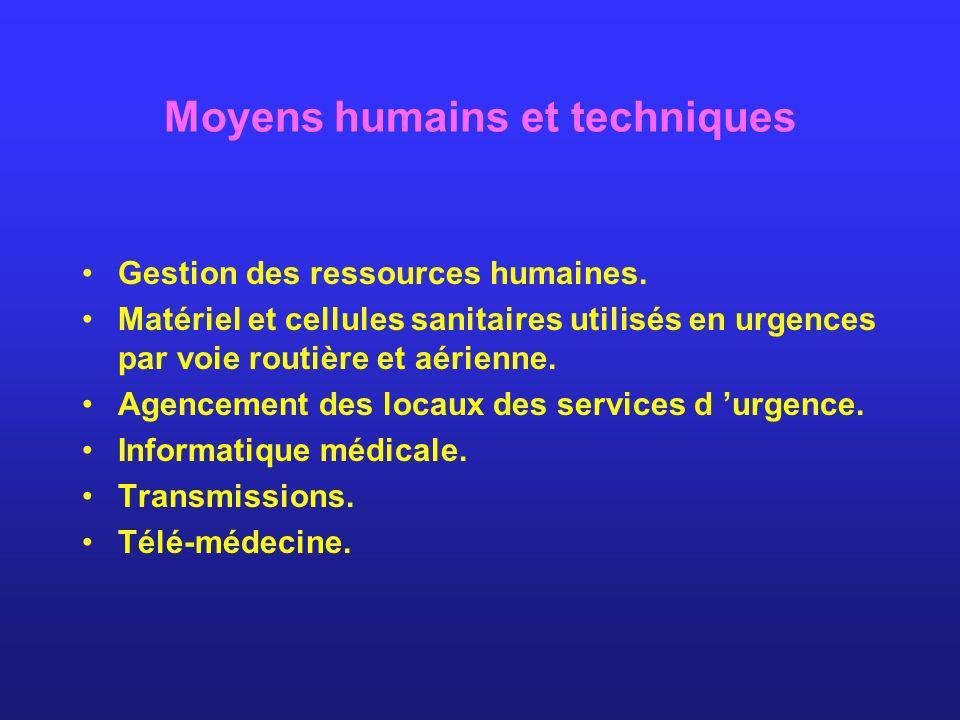 Moyens humains et techniques Gestion des ressources humaines. Matériel et cellules sanitaires utilisés en urgences par voie routière et aérienne. Agen