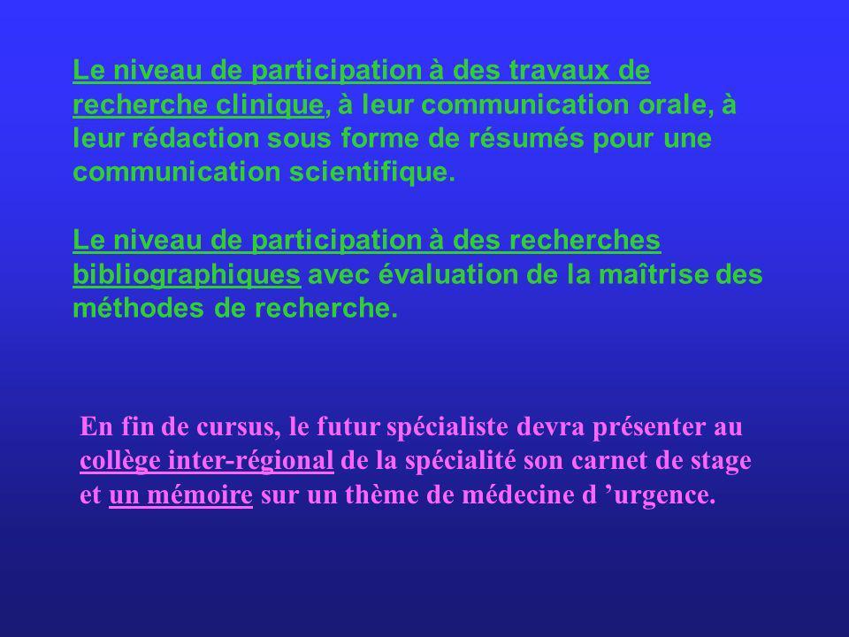 Le niveau de participation à des travaux de recherche clinique, à leur communication orale, à leur rédaction sous forme de résumés pour une communicat