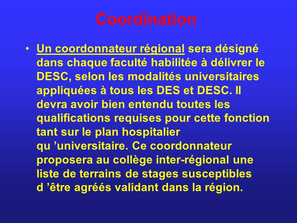 Coordination Un coordonnateur régional sera désigné dans chaque faculté habilitée à délivrer le DESC, selon les modalités universitaires appliquées à