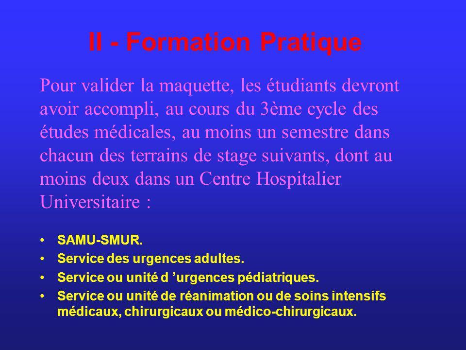 II - Formation Pratique SAMU-SMUR. Service des urgences adultes. Service ou unité d urgences pédiatriques. Service ou unité de réanimation ou de soins