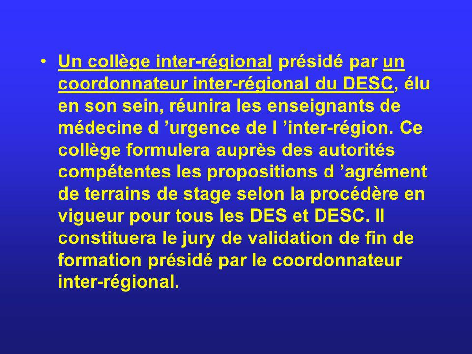 Un collège inter-régional présidé par un coordonnateur inter-régional du DESC, élu en son sein, réunira les enseignants de médecine d urgence de l int