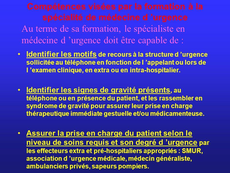Compétences visées par la formation à la spécialité de médecine d urgence Identifier les motifs de recours à la structure d urgence sollicitée au télé