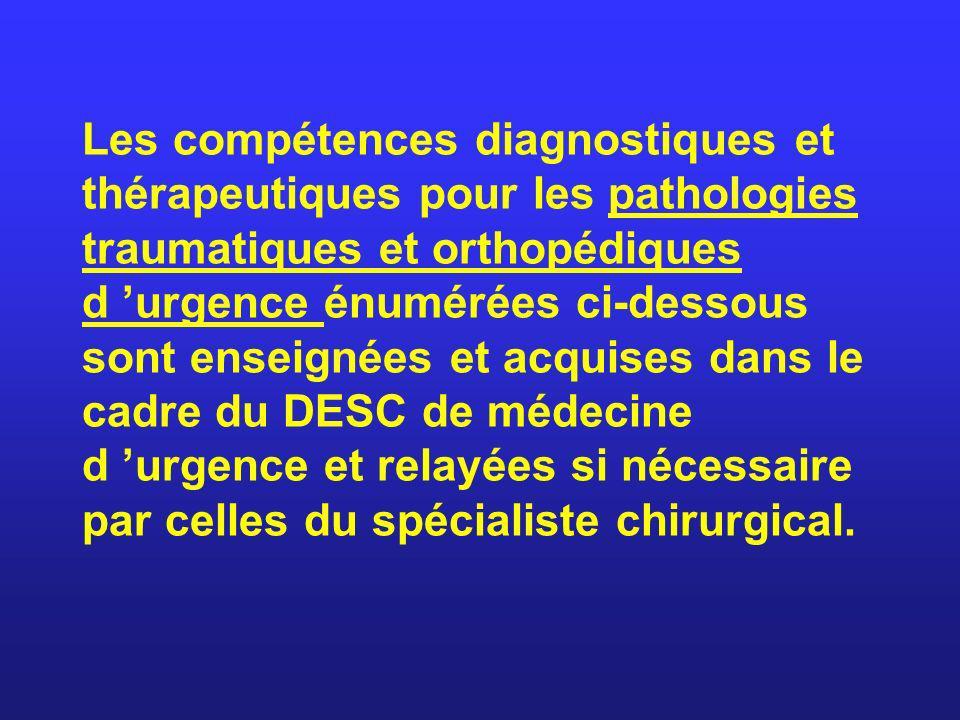 Les compétences diagnostiques et thérapeutiques pour les pathologies traumatiques et orthopédiques d urgence énumérées ci-dessous sont enseignées et a