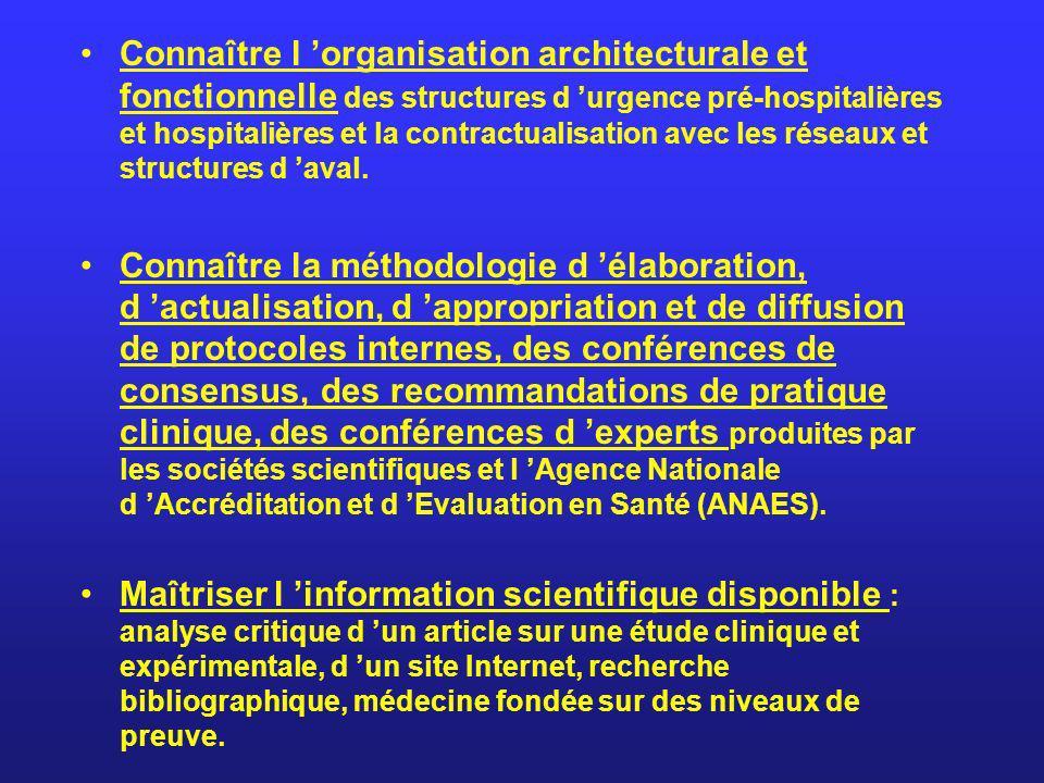 Connaître l organisation architecturale et fonctionnelle des structures d urgence pré-hospitalières et hospitalières et la contractualisation avec les