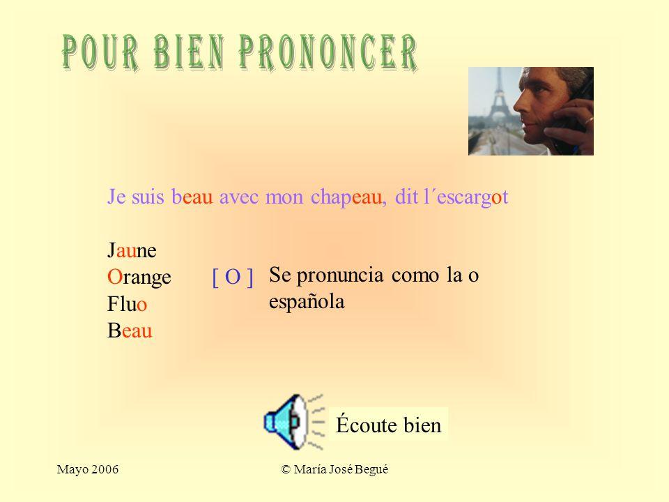 Mayo 2006© María José Begué exercices 1. Verbe avoir Complète avec le verbe avoir: -tu as un livre -Nous avons des cahiers -Ils ont une chaise et une