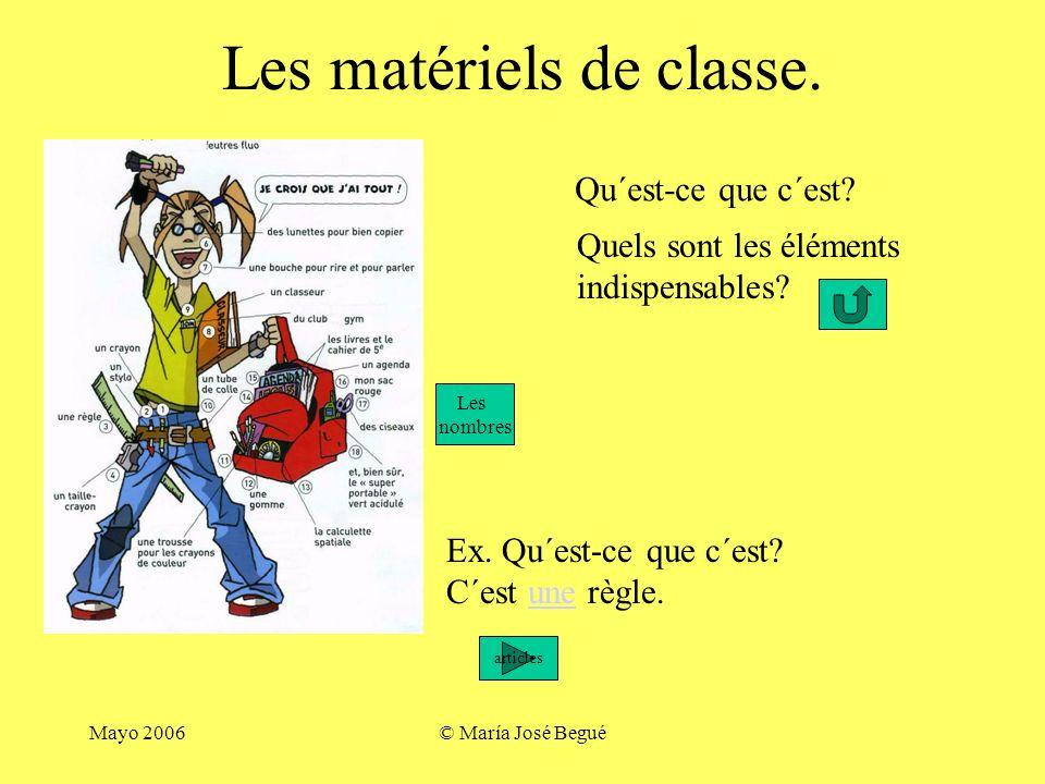 Mayo 2006© María José Begué Décrire Et identifier Un objet Vocabulaire et expressions: Le matériel de classe. Les couleurs. Grammaire en situations: Q