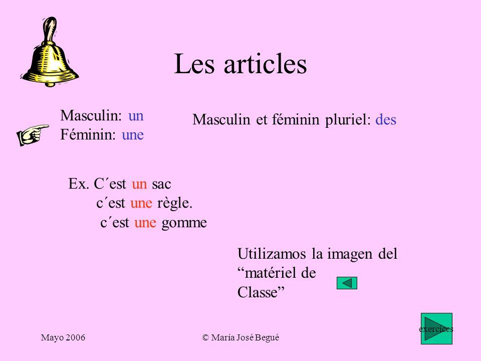 Mayo 2006© María José Begué Les articles Masculin: un Féminin: une Masculin et féminin pluriel: des Ex.