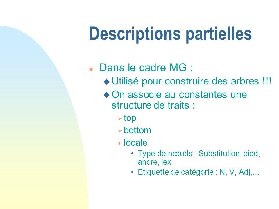 Descriptions partielles n Dans le cadre MG : u Utilisé pour construire des arbres !!.