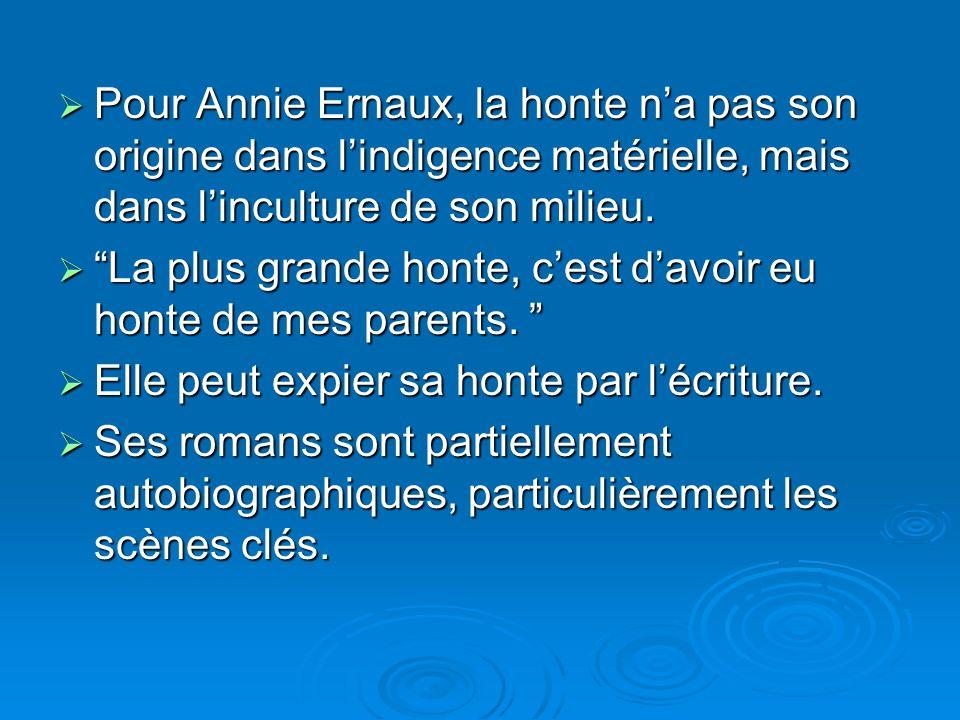 Pour Annie Ernaux, la honte na pas son origine dans lindigence matérielle, mais dans linculture de son milieu. Pour Annie Ernaux, la honte na pas son