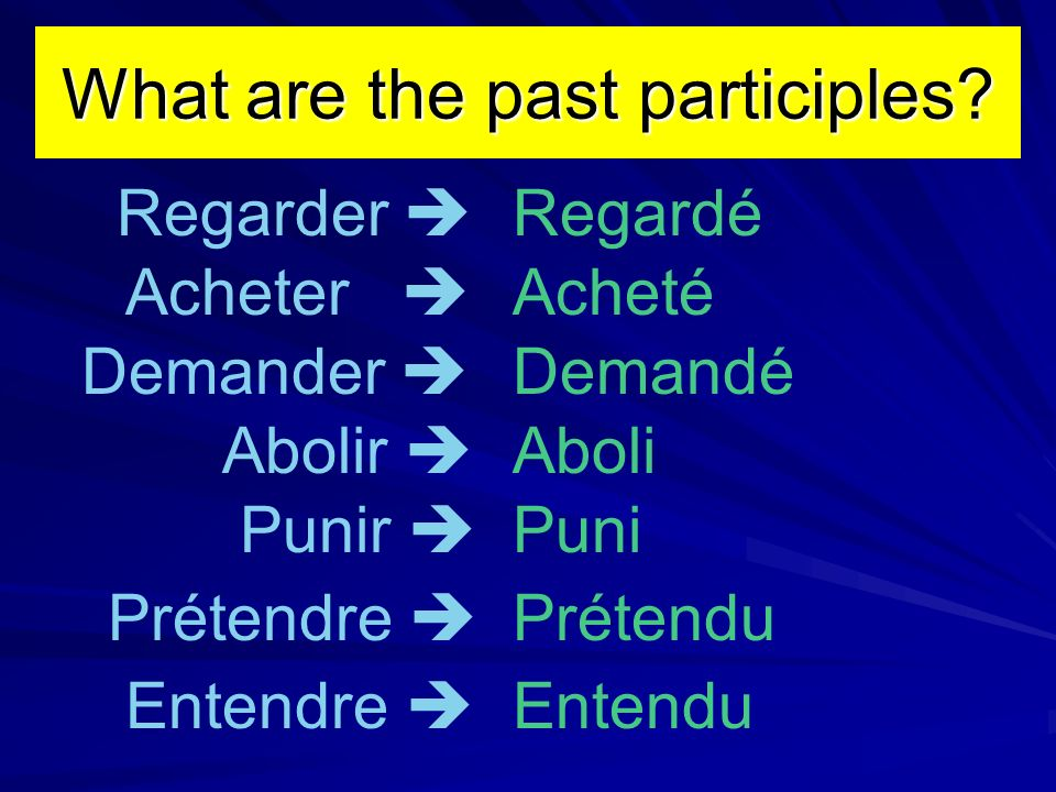 What are the past participles.