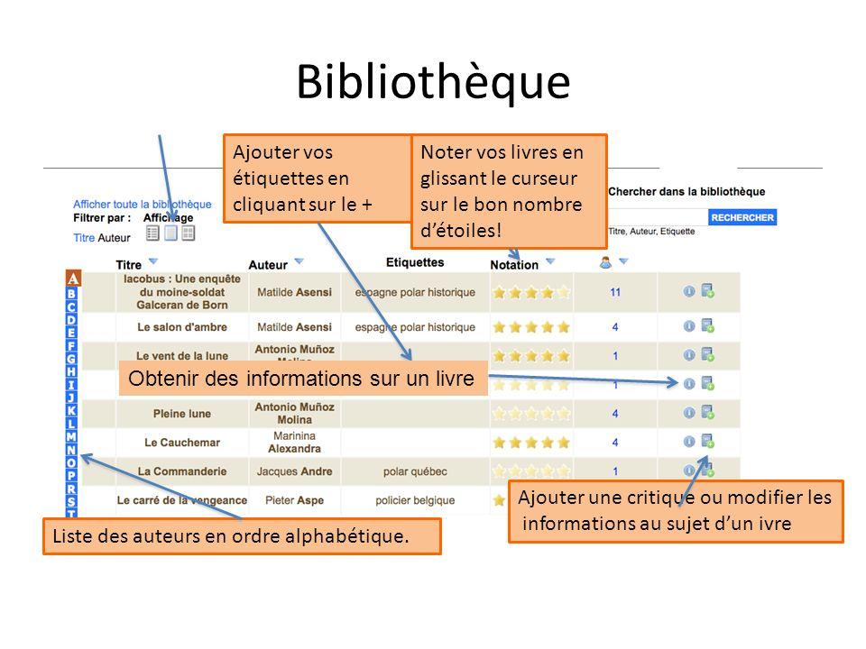 Bibliothèque Noter vos livres en glissant le curseur sur le bon nombre détoiles! Ajouter vos étiquettes en cliquant sur le + Liste des auteurs en ordr