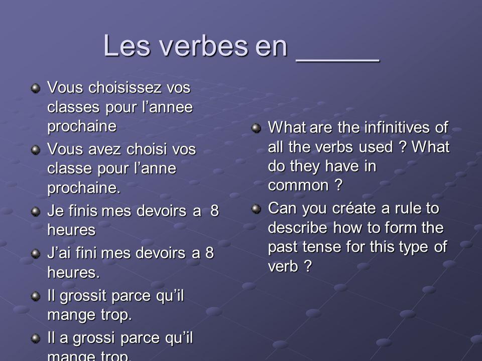 Les verbes en _____ Vous choisissez vos classes pour lannee prochaine Vous avez choisi vos classe pour lanne prochaine. Je finis mes devoirs a 8 heure