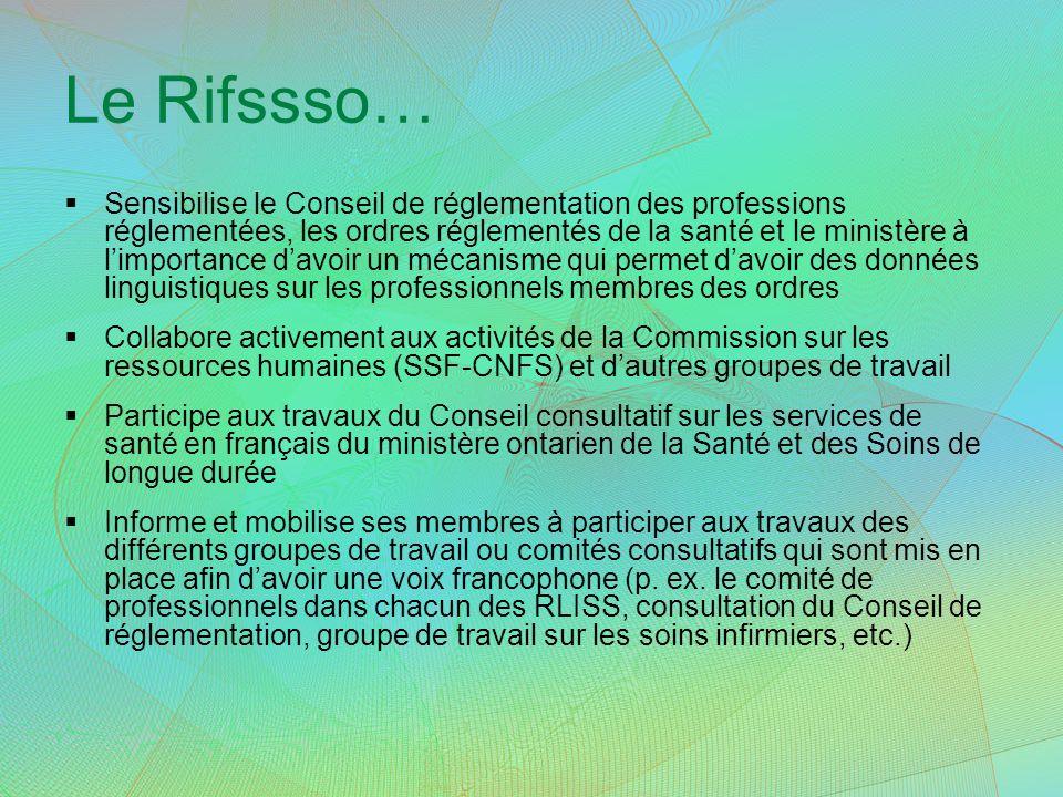 Le Rifssso… Sensibilise le Conseil de réglementation des professions réglementées, les ordres réglementés de la santé et le ministère à limportance da