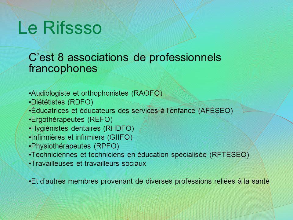 Le Rifssso Cest 8 associations de professionnels francophones Audiologiste et orthophonistes (RAOFO) Diététistes (RDFO) Éducatrices et éducateurs des services à lenfance (AFÉSEO) Ergothérapeutes (REFO) Hygiénistes dentaires (RHDFO) Infirmières et infirmiers (GIIFO) Physiothérapeutes (RPFO) Techniciennes et techniciens en éducation spécialisée (RFTESEO) Travailleuses et travailleurs sociaux Et dautres membres provenant de diverses professions reliées à la santé