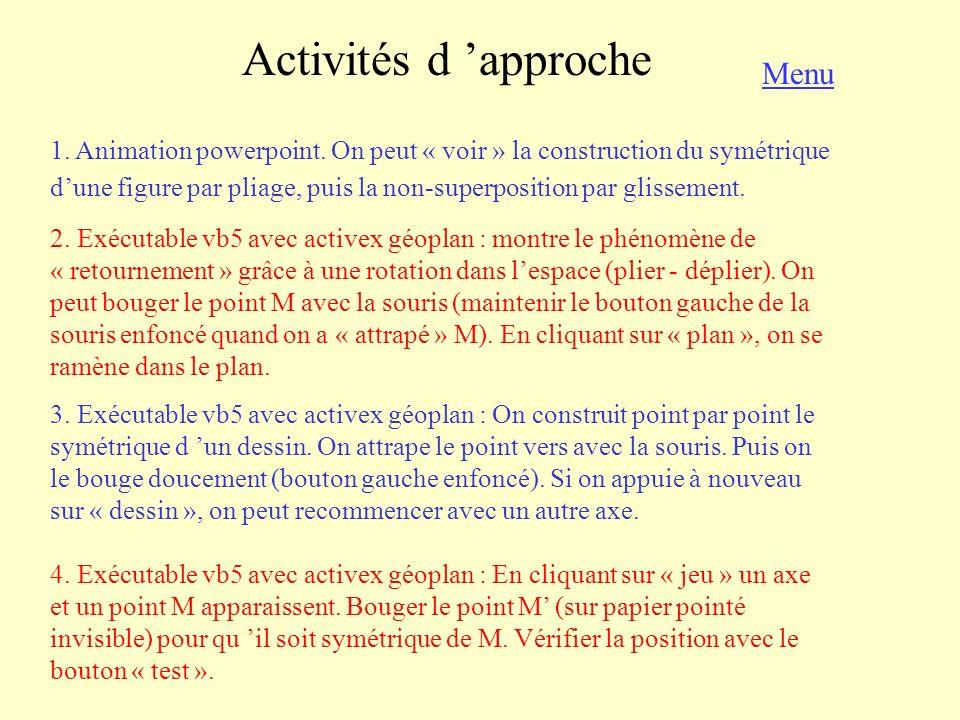 Activités d approche 1. Animation powerpoint. On peut « voir » la construction du symétrique dune figure par pliage, puis la non-superposition par gli