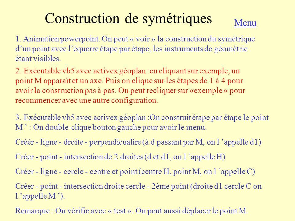Construction de symétriques Menu 4.Animation powerpoint.