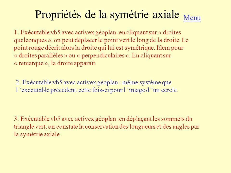 Propriétés de la symétrie axiale 1. Exécutable vb5 avec activex géoplan :en cliquant sur « droites quelconques », on peut déplacer le point vert le lo