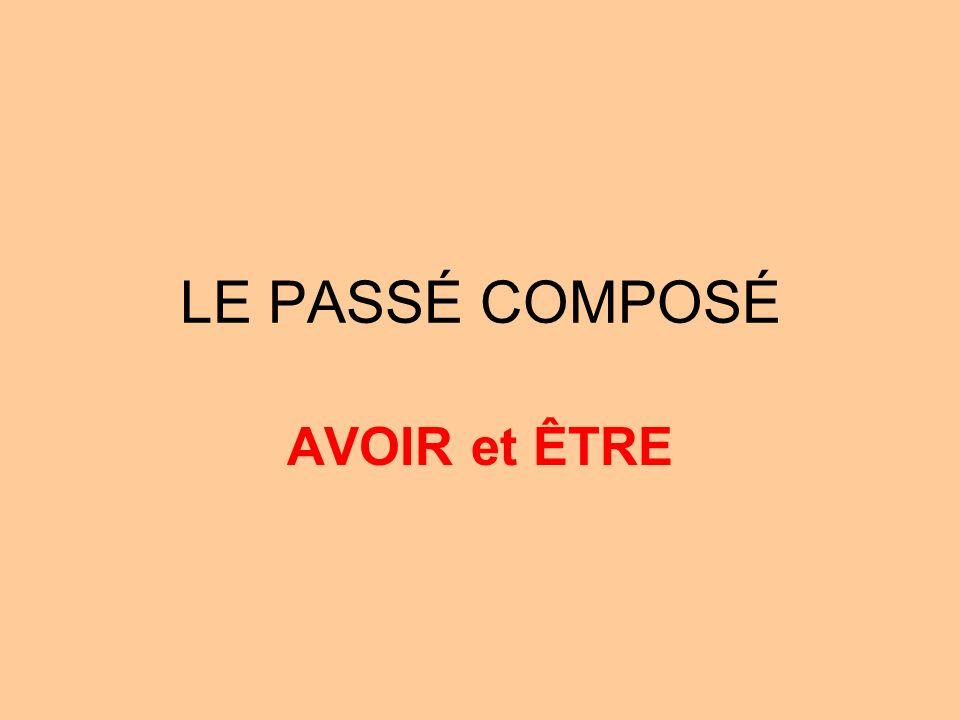 LE PASSÉ COMPOSÉ AVOIR et ÊTRE