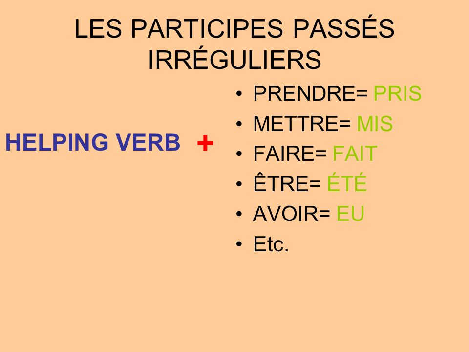 LES PARTICIPES PASSÉS IRRÉGULIERS PRENDRE= PRIS METTRE= MIS FAIRE= FAIT ÊTRE= ÉTÉ AVOIR= EU Etc. HELPING VERB +