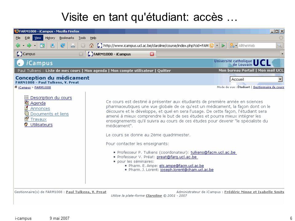 9 mai 2007i-campus6 Visite en tant qu étudiant: accès …