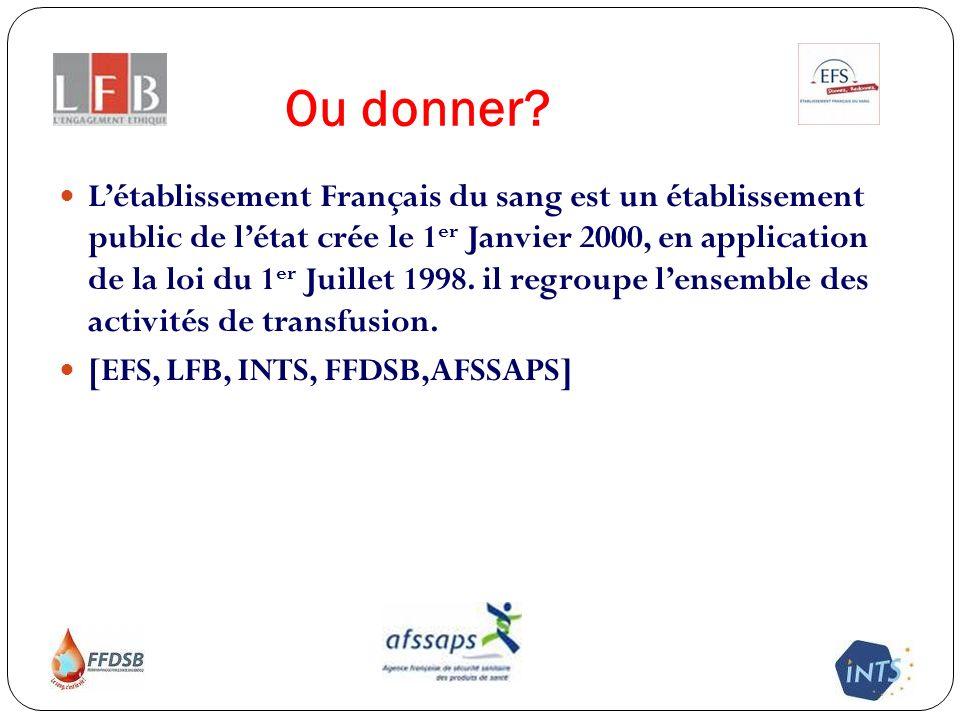 Ou donner? Létablissement Français du sang est un établissement public de létat crée le 1 er Janvier 2000, en application de la loi du 1 er Juillet 19