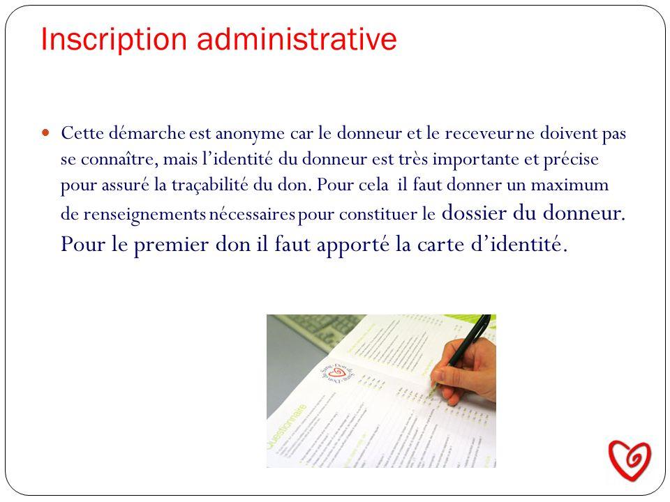 Inscription administrative Cette démarche est anonyme car le donneur et le receveur ne doivent pas se connaître, mais lidentité du donneur est très im