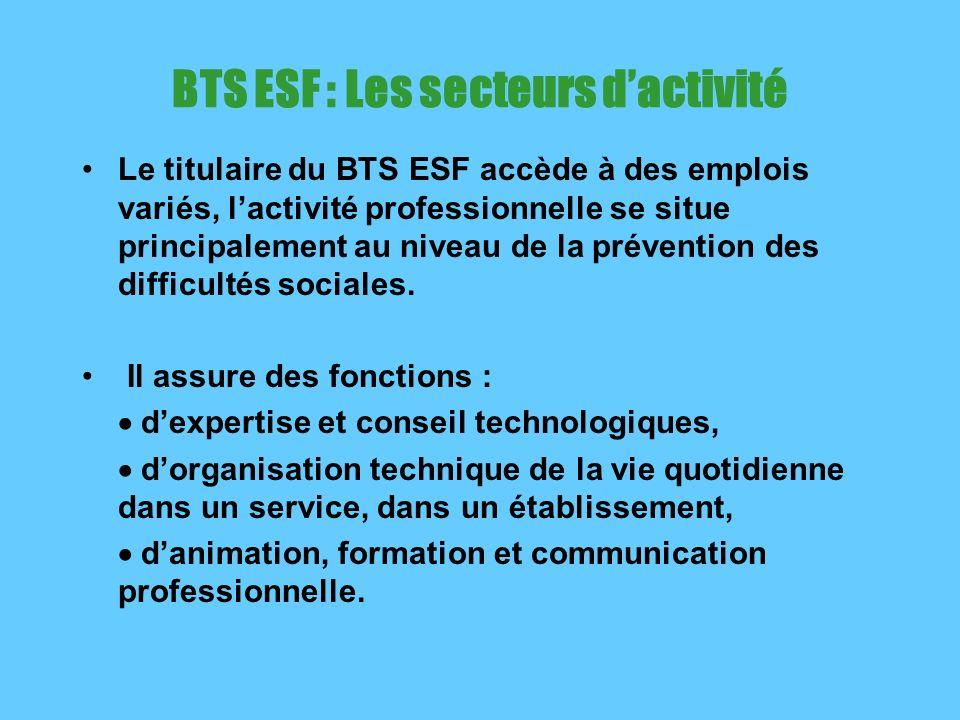 BTS ESF : Les secteurs dactivité Le titulaire du BTS ESF accède à des emplois variés, lactivité professionnelle se situe principalement au niveau de la prévention des difficultés sociales.