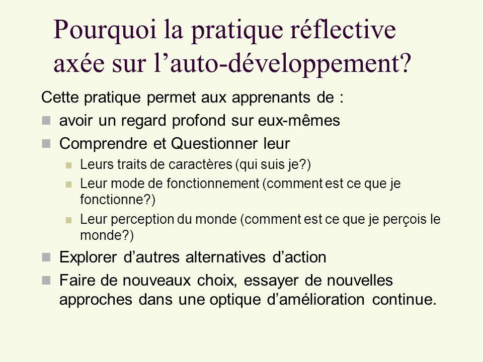 Pourquoi la pratique réflective axée sur lauto-développement? Cette pratique permet aux apprenants de : avoir un regard profond sur eux-mêmes Comprend