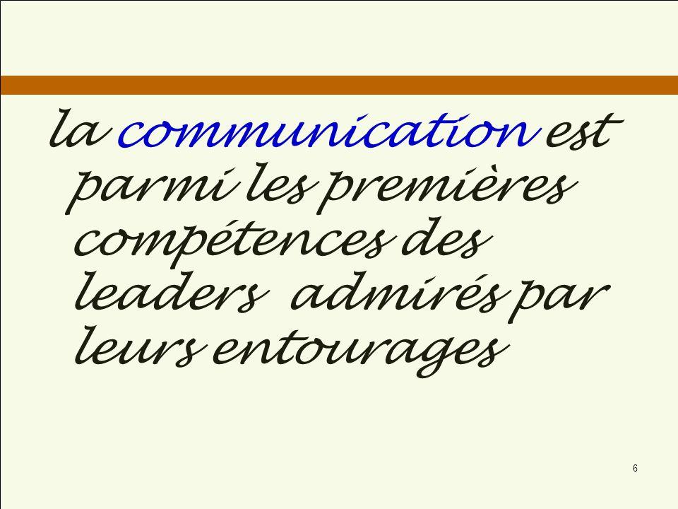 La Communication des leaders est spéciale : Elle est plus attentionné, personnelle, et focalisée sur la façon de pousser les membres de lorganisation à réfléchir et agir ensemble.