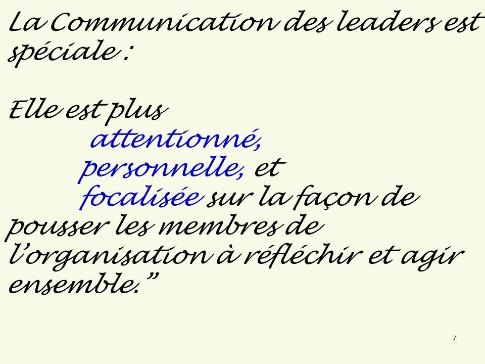 La Communication des leaders est spéciale : Elle est plus attentionné, personnelle, et focalisée sur la façon de pousser les membres de lorganisation