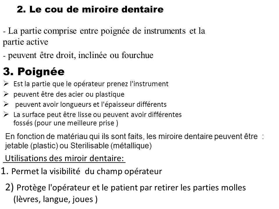 2. Le cou de miroire dentaire - La partie comprise entre poignée de instruments et la partie active - peuvent être droit, inclinée ou fourchue 3. Poig
