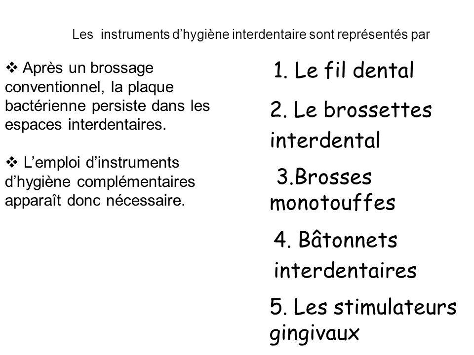 1. Le fil dental 2. Le brossettes interdental 4. Bâtonnets interdentaires 5. Les stimulateurs gingivaux 3.Brosses monotouffes Les instruments dhygiène