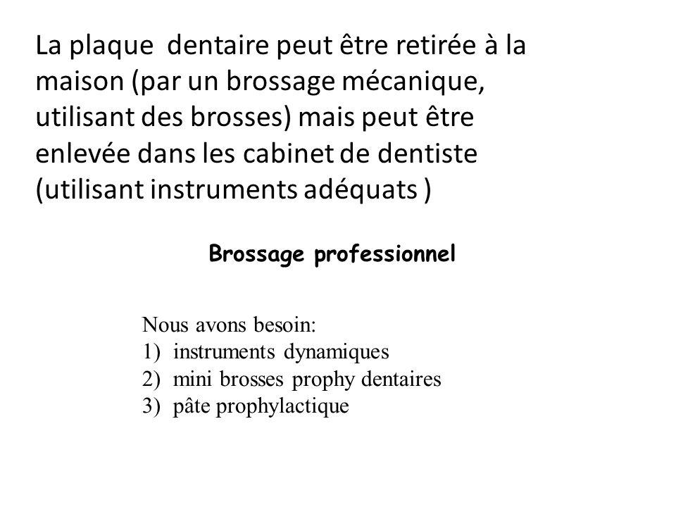 La plaque dentaire peut être retirée à la maison (par un brossage mécanique, utilisant des brosses) mais peut être enlevée dans les cabinet de dentist