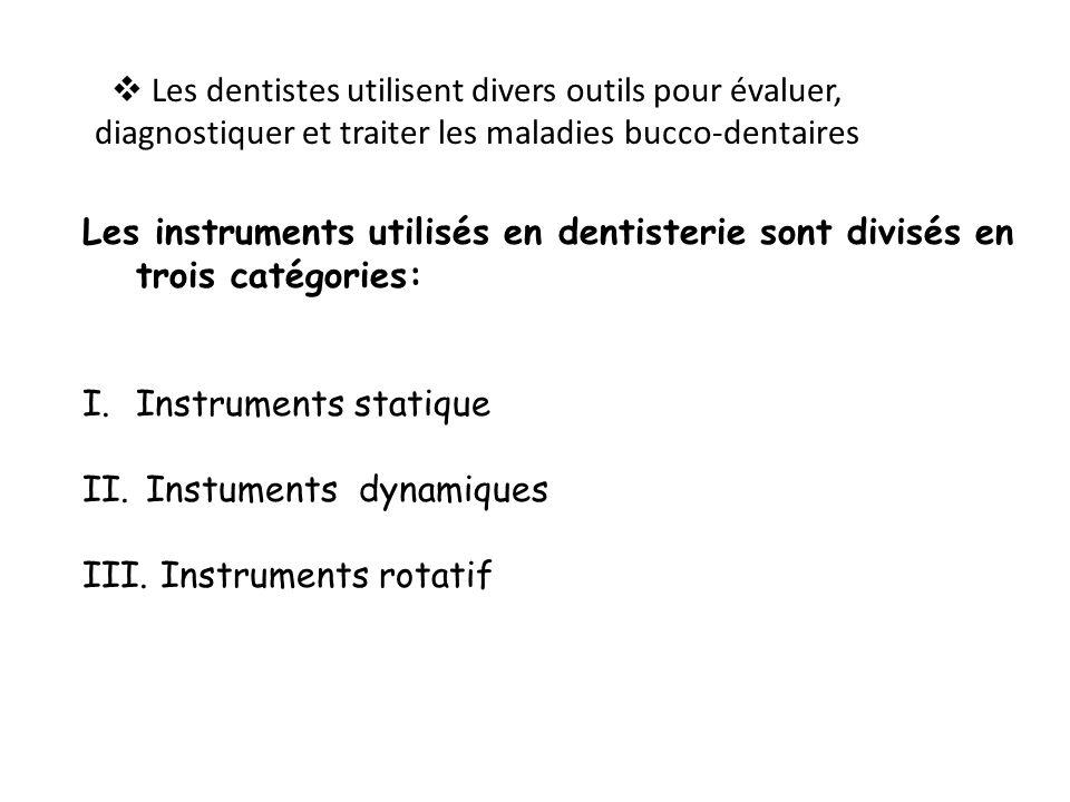 Les dentistes utilisent divers outils pour évaluer, diagnostiquer et traiter les maladies bucco-dentaires Les instruments utilisés en dentisterie sont