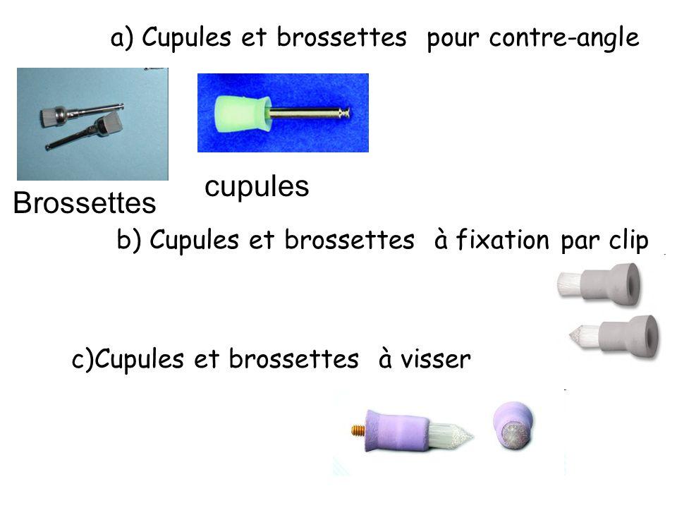 a) Cupules et brossettes pour contre-angle Brossettes cupules b) Cupules et brossettes à fixation par clip c)Cupules et brossettes à visser