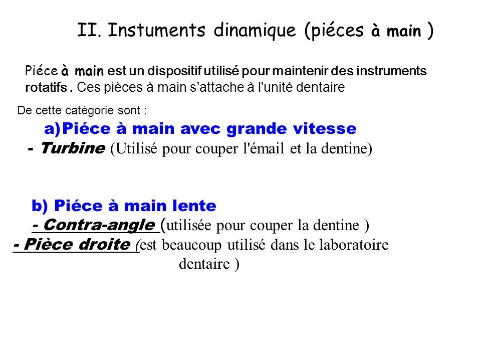 II. Instuments dinamique (piéces à main ) Piéce à main est un dispositif utilisé pour maintenir des instruments rotatifs. Ces pièces à main s'attache