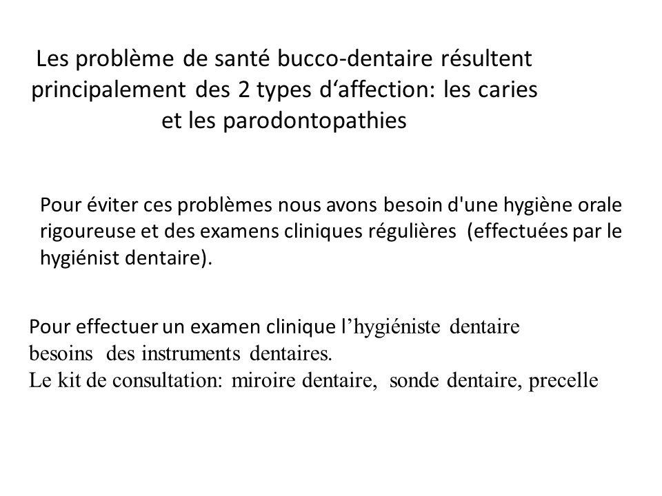 Les problème de santé bucco-dentaire résultent principalement des 2 types daffection: les caries et les parodontopathies Pour éviter ces problèmes nou