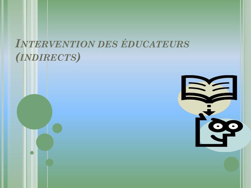 I NTERVENTION DES ÉDUCATEURS ( INDIRECTS )