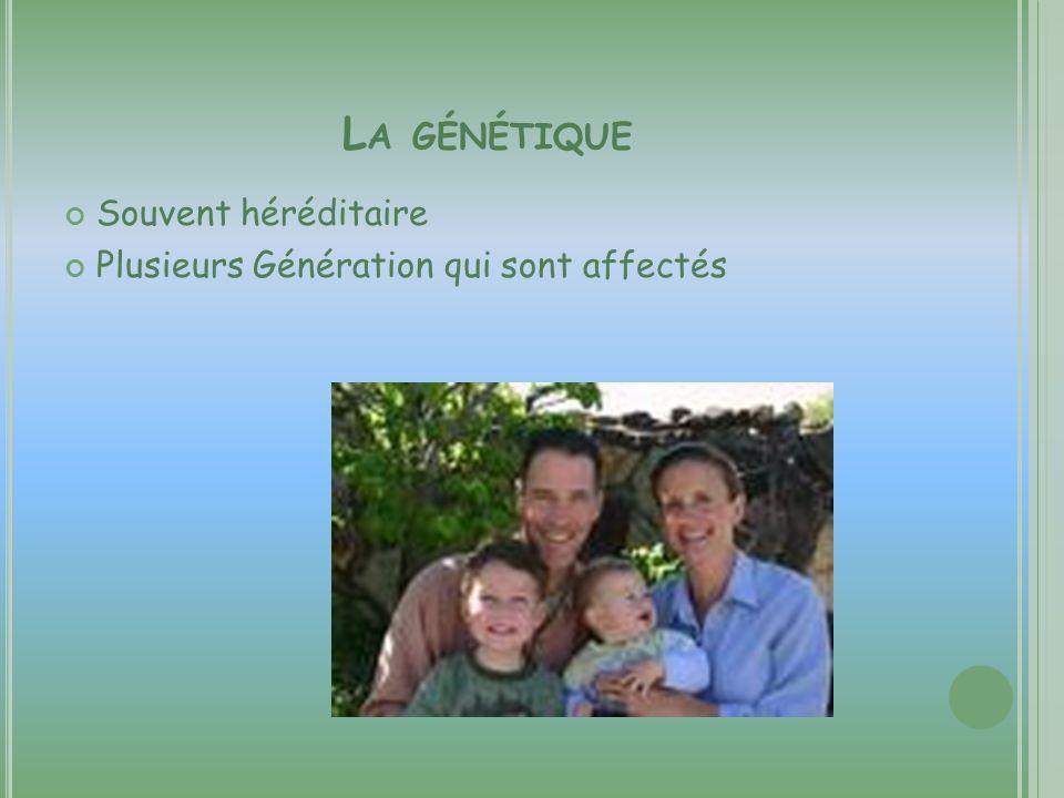 L A GÉNÉTIQUE Souvent héréditaire Plusieurs Génération qui sont affectés