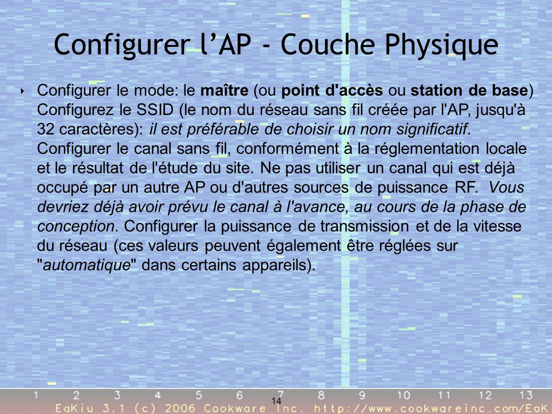 14 Configurer lAP - Couche Physique 14 Configurer le mode: le maître (ou point d accès ou station de base) Configurez le SSID (le nom du réseau sans fil créée par l AP, jusqu à 32 caractères): il est préférable de choisir un nom significatif.