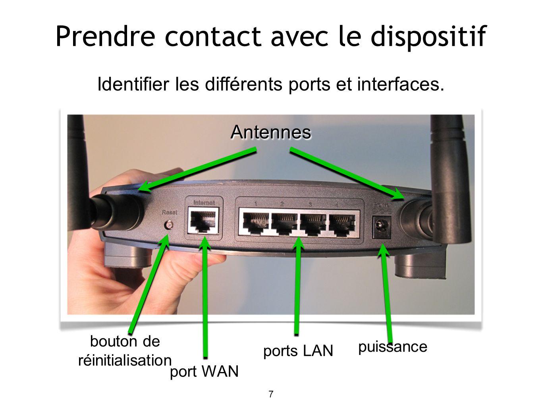 7 Identifier les différents ports et interfaces. bouton de réinitialisation port WAN ports LAN puissance Antennes